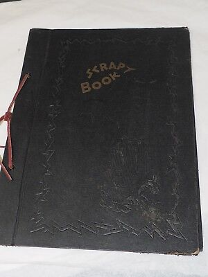 "Vintage 1930-40 SCRAP BOOK COVER WITH LEATHER TIE 8.25"" x 11.5"""