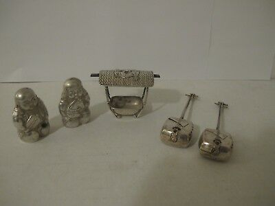 Antique Collection Of Chinese,  Japanese Sterling Silver Salt&pepper Shakers