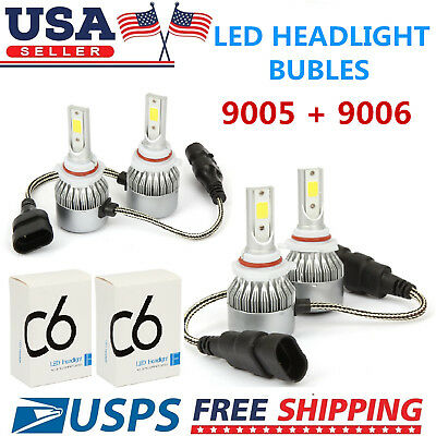 Combo 9005 9006 LED Headlight Bulbs Kit for Honda Accord 1997-2007 High Low Beam