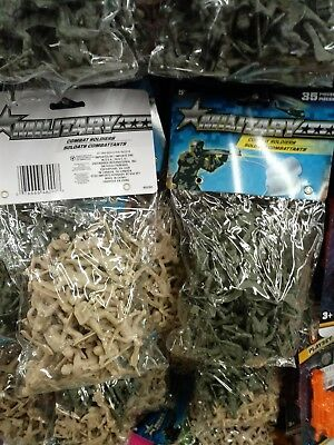 70 Plastic Army Men Toy Soldiers Many Different Poses 35 Green 35 Tan Colors