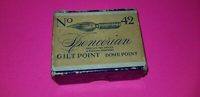 Vintage No.42 Spencerian Gilt Point Dome Point Pen Nibs Box 46 NEW NIBS