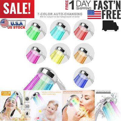 Bathroom Colorful Shower Head LED Shower Water Glow Light 7 Colors Changing US