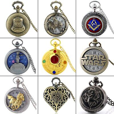 Vintage Antique Quartz Steampunk Pocket Watch Necklace Retro Pendant Gifts New