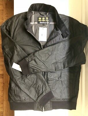 NWT Men's Barbour Hagart Waxed Cotton Jacket Black Large