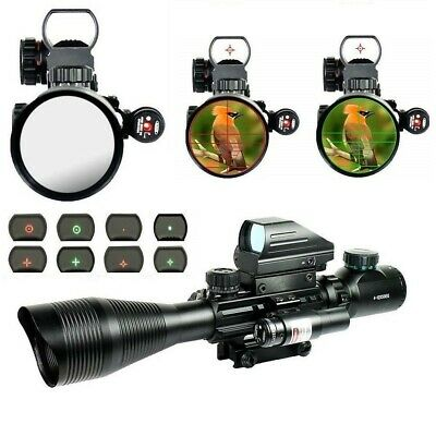 New Tactical Rifle Scope 4-12X50EG Holographic 4 Reticle Dot Sight &+Red Laser