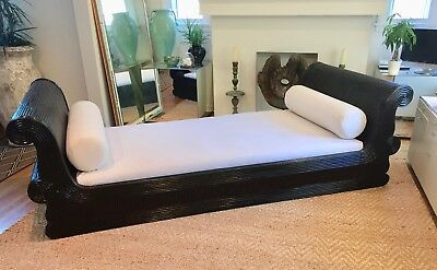 """Exotic Asian Split Reed Rattan Daybed Custom Mattress Reading Lounging  104"""" L"""