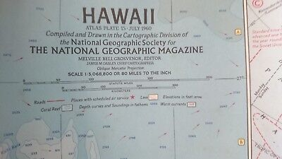 Vintage National Geographic 1960 Map of Hawaii-Atlas Plate 15