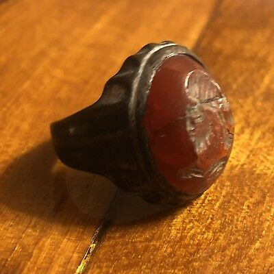 Medieval Or Ancient Intaglio Ring Roman? European? Antique Old Seal Signet Red