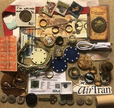 Old Antique Vintage Junk Drawer Estate Lot Coin Stamp Collectible Jewelry Bulk 3