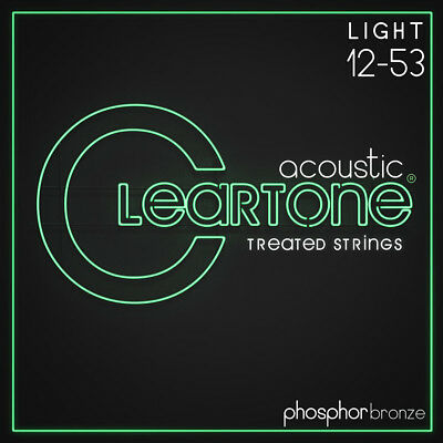 Cleartone 7412 Acoustic Guitar Strings Phosphor Bronze Light Coated Set 12-53