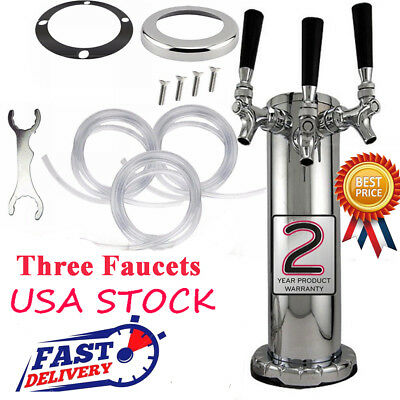 3 Tap Triple Faucet Beer Tower Homebrew Bar Pub Party Kegerator Stainless Steel