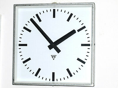 LARGE battery operated Metal Wall Clock - Factory School Railway - vintage loft