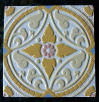 Jugendstil Fliese art nouveau tile tegel V&B Mettlach Blume Kreis schön rar top