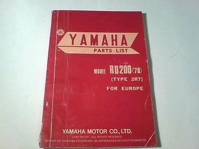 Spare Parts List / Spare Parts List Yamaha Rd 200/RD200 '78 Stand December 1977