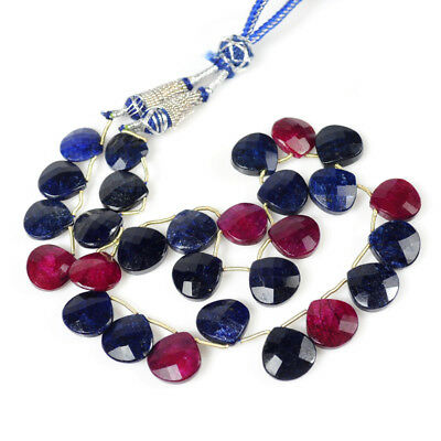 251+Ct/28 Pcs Natural Top Red Ruby & Blue Sapphire Pear Checker Cut Beads Strand