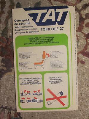 Rare Safety Card - TAT Touraine Air Transport Fokker F-27