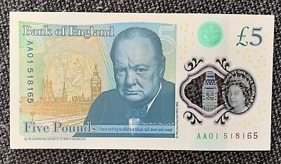 AA01 First Prefix £5 Five Pound Note. New Polymer Note 2016 uncirculated! Rare