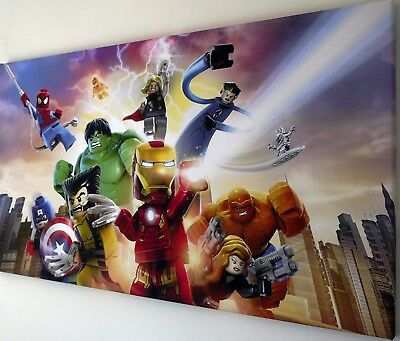 LEGO MARVEL AVENGERS CANVAS WALL ART PICTURE  18 x 32 INCH FRAMED
