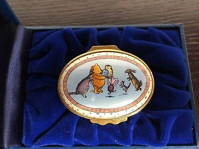 """Halcyon Days Enamel Box - WInnie the Pooh """"For and astute and helpful bear"""""""