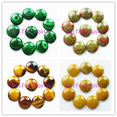 10Pcs Mix-And-Match Stone Agate Round Cab Cabochon 20*6mm DZ1009
