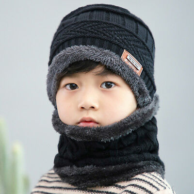 Children Boy Winter Knitted Beanie Hat and Scarf Set Kids Warm Balaclava Cap Ski