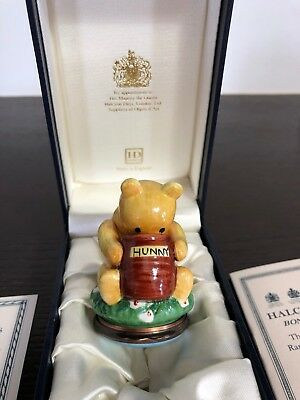 """Halcyon Days Bonbonniere - WInnie the Pooh """"Pooh with his nose in a 'Hunny' Pot"""""""