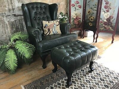 Vintage Chesterfield Leather Wingback Chair + Footstool~Lounge Suite~Armchair