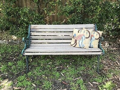 Vintage Cast Iron & Timber Park Bench/Chair~Garden Seat~