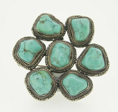 19th Century Vintage Old European Antique Silver Turquoise Brooch Jewelry Pin