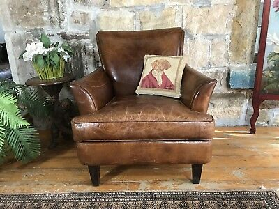 Aged Leather Lounge Chair~Armchair~Chesterfield-Sofa-Cigar Brown~1 of 2