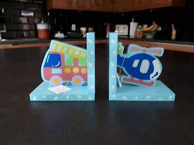 Helicopter And Fire Engine Book Ends for Childrens Bedroom
