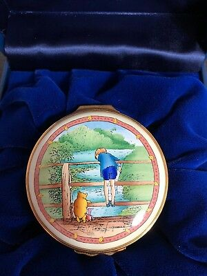 """Halcyon Days Enamel Box - WInnie the Pooh """"Poohsticks must be dropped......."""""""