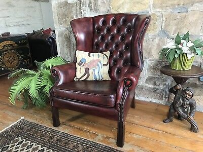 Vintage Chesterfield Leather Wingback Lounge Chair~Armchairs~1of2