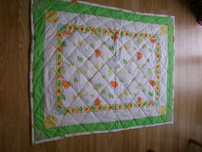 Handmade Quilted Baby Quilt Cot / Pram Baby Elephants Giraffes Hippos Turtles