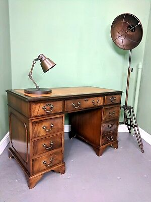 An Antique Style Mahogany Twin Pedestal Leather Topped Desk ~Delivery Available~