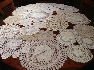 vintage chrochet Doilies Medium, Small Size White In Colour Lot 3