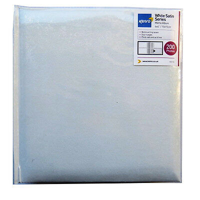 White Satin Photo Album with Memo Space - 200 Photos (6 x 4) - 220mm x 212mm