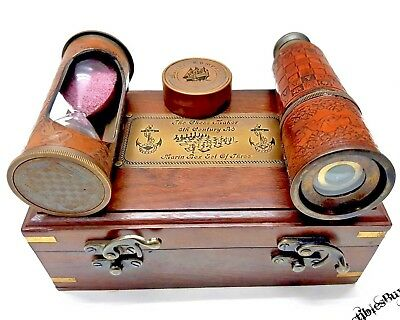 Maritime Sailor Leather Telescope Timer & Compass Wooden Gift Box X-MAS Gift