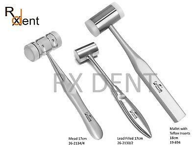 Bone Mallet Mead, Lead Filled, Teflon Inserts Stainless Steel Implant Orthopedic