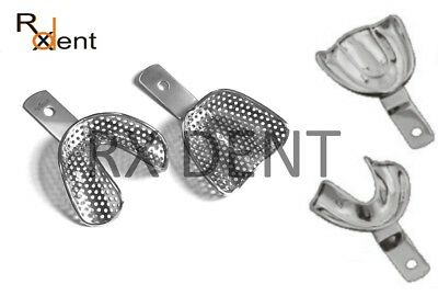 Edentulous Impression Trays Stainless Steel Perforated Solid Upp+Low S/M/L/XL CE