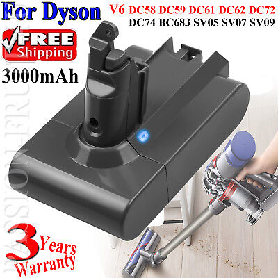 3.0Ah FOR DYSON V6 ANIMAL BATTERY DC58,DC59,DC61,DC62,DC72,DC74,V6 Absolute PASS
