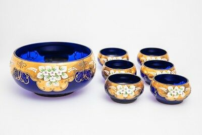 Vintage Venetian Murano glass gold gilt hand painted large bowl and soup bowls