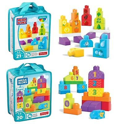 Mega Bloks Children's Build & Learn Toy Bags - 2 x Playsets To Choose From