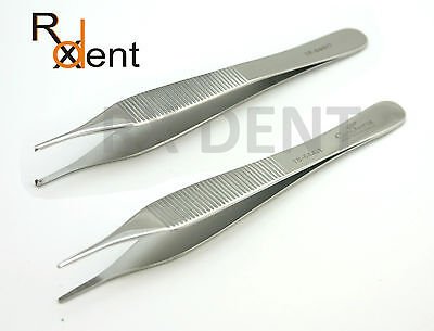 Adson Tissue Forceps Tweezers 12cm Serrated, 1x2th, Dressing Dental Instruments