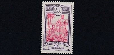 French Colonies French Polynesia 1922 - 30    Sg 51  25C  Crimson & Violet   Mh