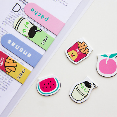 6pcs/set Fresh Fries Magnetic Bookmarks Book Marker Page Clip Office Supplies