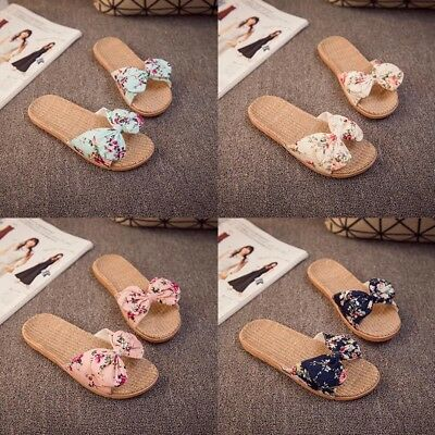 Women Summer In/Outdoor Sandals Linen Slippers Lady Bow Tie Beach Slippers AU