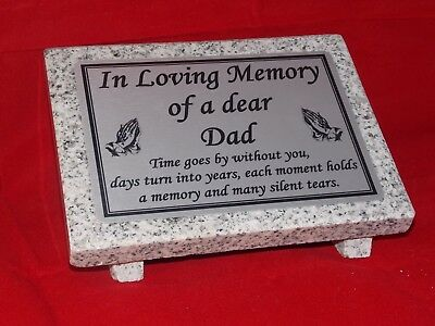 Personalised Grey Granite not Marble Memorial Grave Plaque Stone Dad (Any Name)
