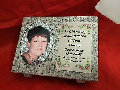 Personalised Grey Granite Memorial Grave Plaque Stone with Full Colour Photo