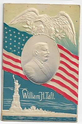 1908 HTF Taft Embossed Postcard Great Design Flag Miss Liberty Blue Colored